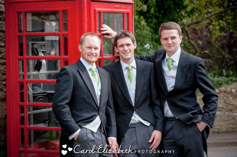 Groom with red phone box