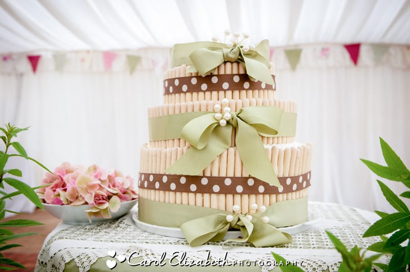 Chocolate finger wedding cake