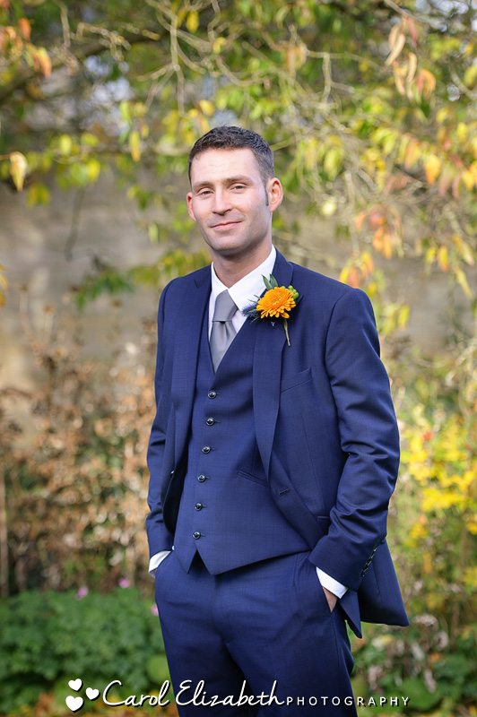 Groom in blue suit - Bay Tree weddings in Autumn