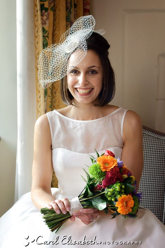 Beautiful bride before her wedding at The Bay Tree in Burford