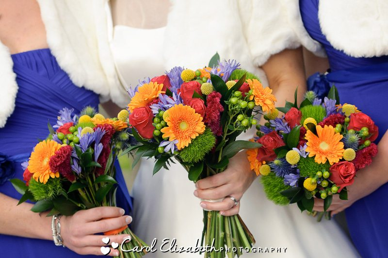 Beautiful autumn flowers during wedding in Oxfordshire