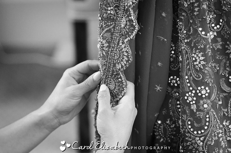 Bride getting ready - black and white wedding photography in Oxfordshire by Carol Elizabeth Photography