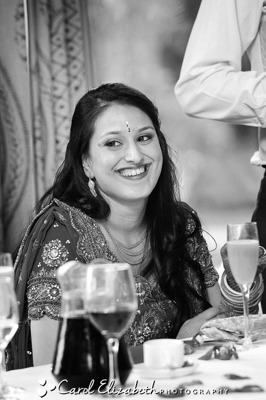 Black and white photo of the bride at Heythrop Prk Hotel wedding