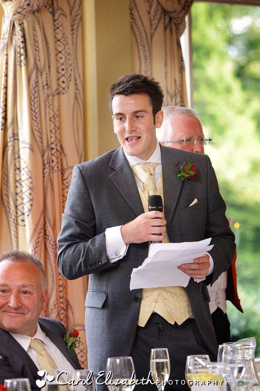 Best man speech - Heythrop Park wedding photographer in Oxfordshire