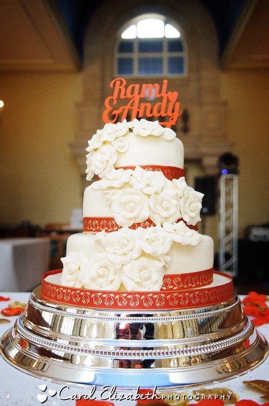 Wedding cake - professional wedding photographer at Heythrop Park weddings