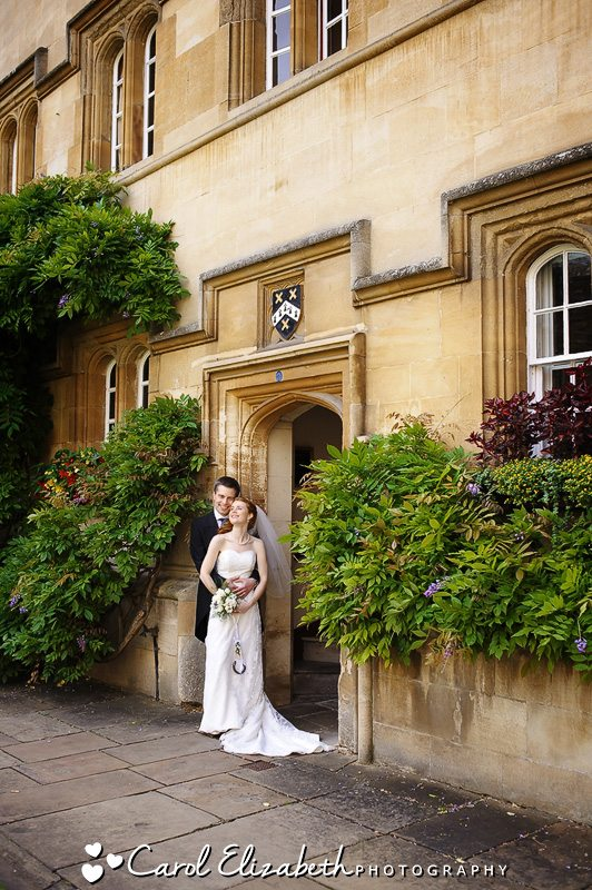 Beautiful bride and groom portrait at University College Oxford wedding