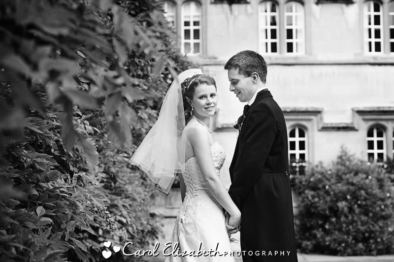 Black and white photography at Oxford College weddings