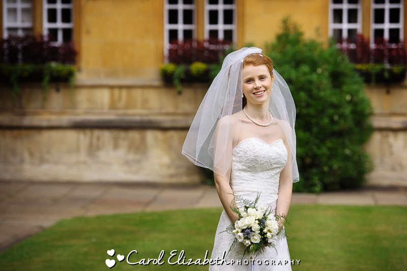 Stunning bridal portrait at University College Oxford weddings