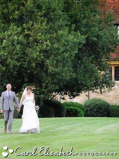 bride and groom at outdoor wedding in oxfordshire