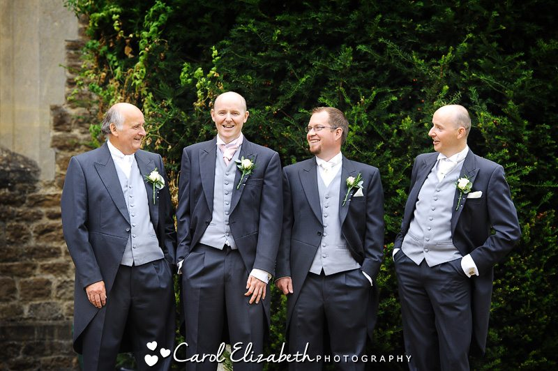 Groom and best men at wedding in Oxfordshire