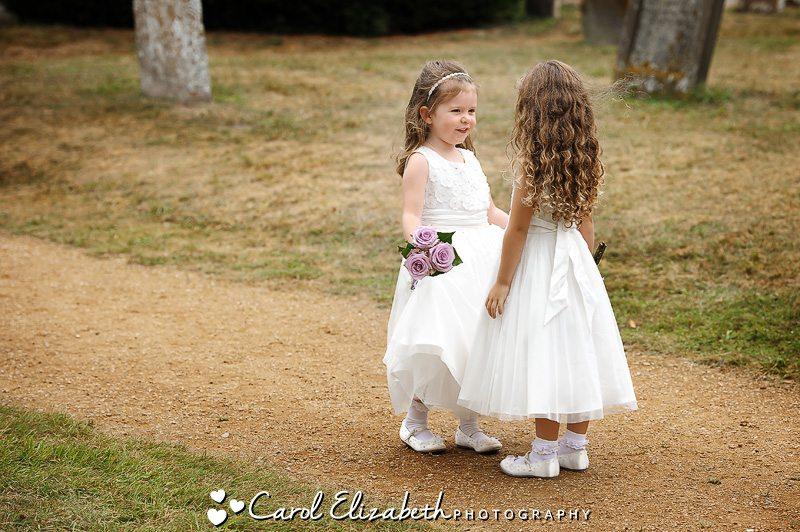 Flowergirlds at wedding in Oxfordshire