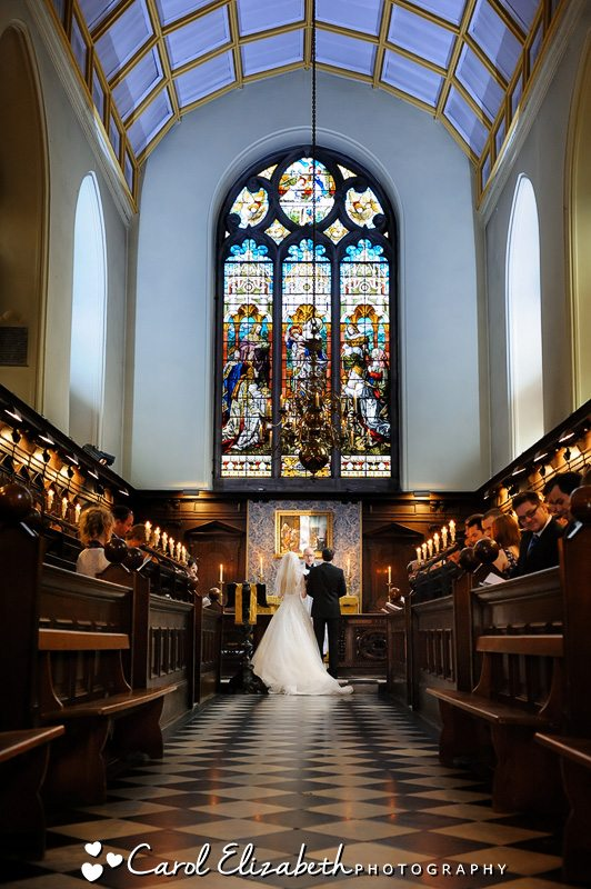 A view of the whole chapel at Oriel College - Oxford University weddings in a natural and relaxed style - Oxford College wedding at Oriel College