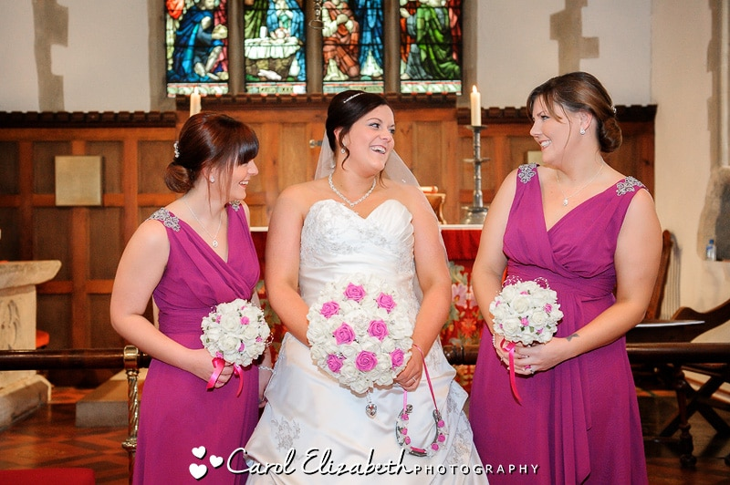 Bride and bridesmaids in church