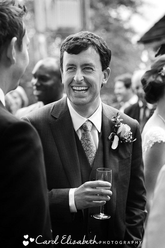 Black and white informal wedding photography