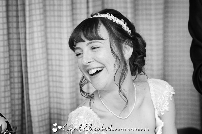 Informal wedding photography of speeches