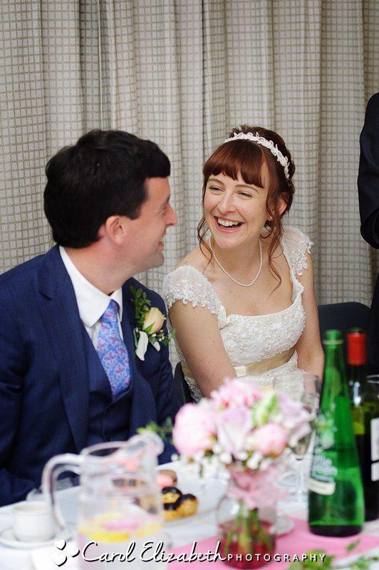 Informal wedding photo of bride and groom