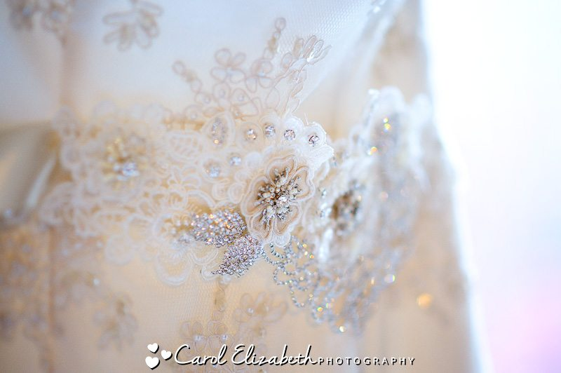 Lace detail on bridal dress