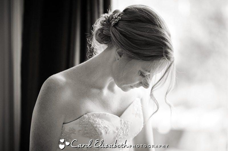 Monochrome wedding photo of bride
