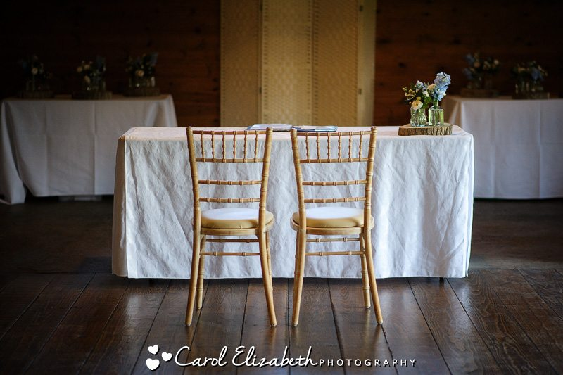 Wedding chairs and table in sunlight