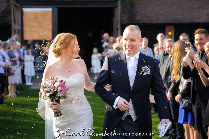 Wedding confetti at Lains Barn wedding