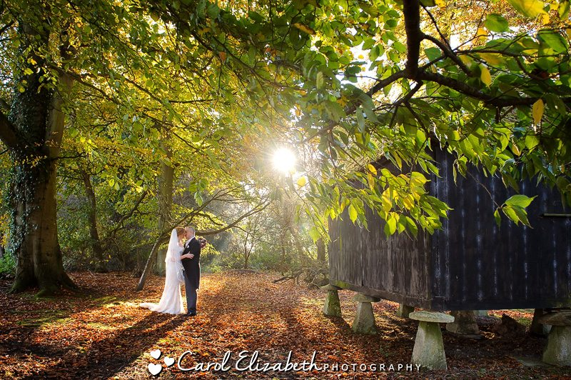 Bride and groom at Lains Barn wedding