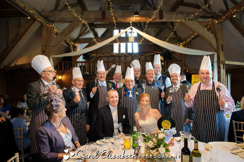 Wedding guests as chefs at Lains Barn wedding
