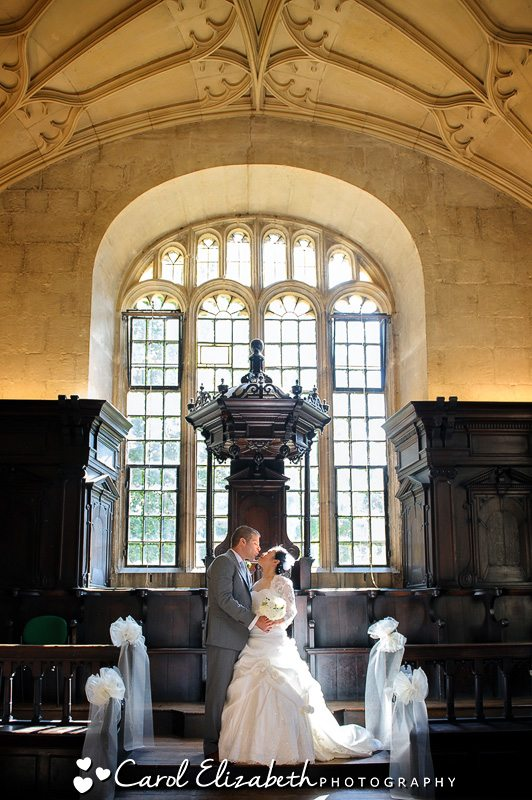 Bride and groom at Bodleian Library wedding