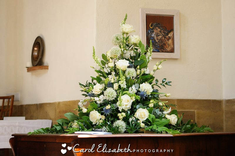 White wedding flower arrangement