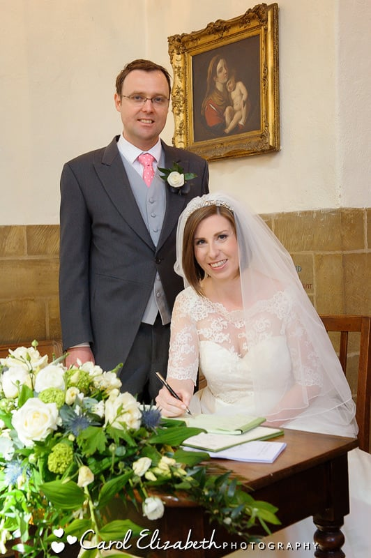 Signing the wedding register in Oxford