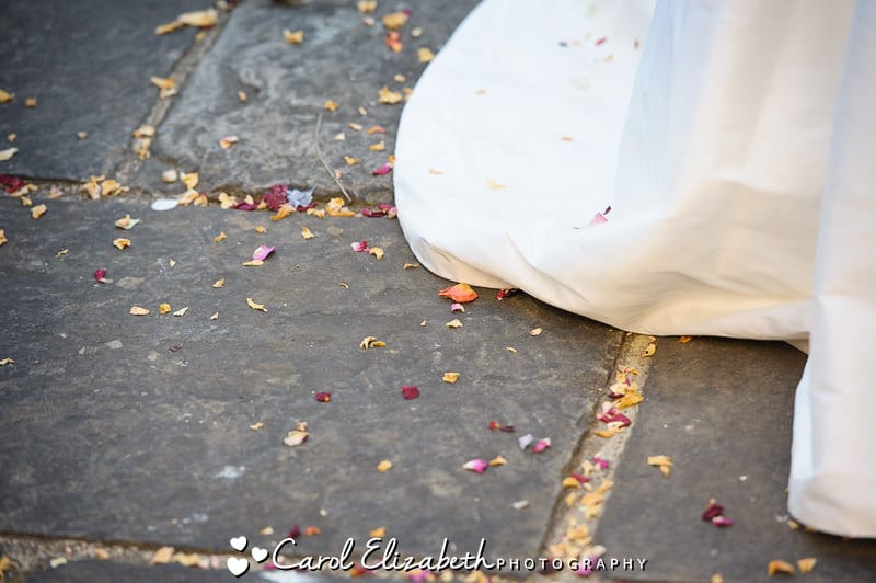 Confetti and wedding dress