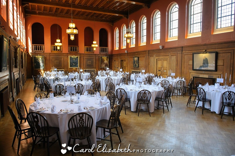 Oxford University weddings in dining hall