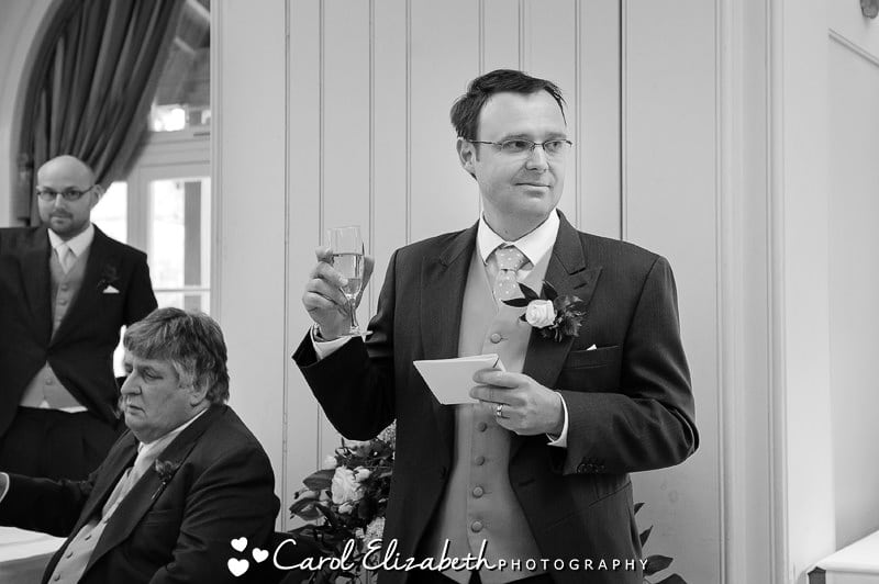 Wedding toast in black and white