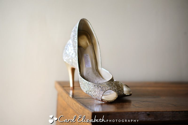 Gold wedding shoes with sequins