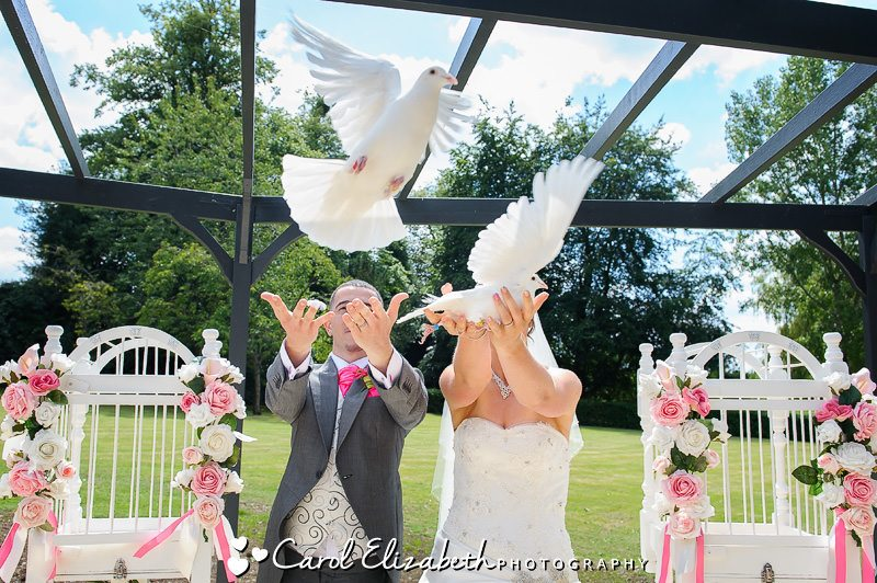 Releasing doves at wedding