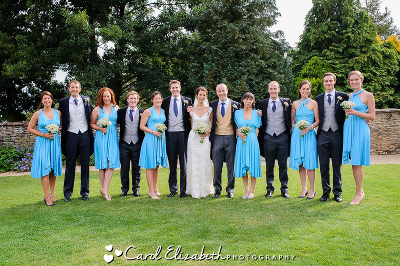 Relaxed wedding group photo