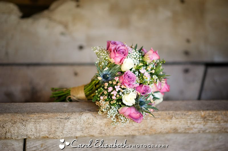 Beautiful bridal flowers with pink roses and cream roses