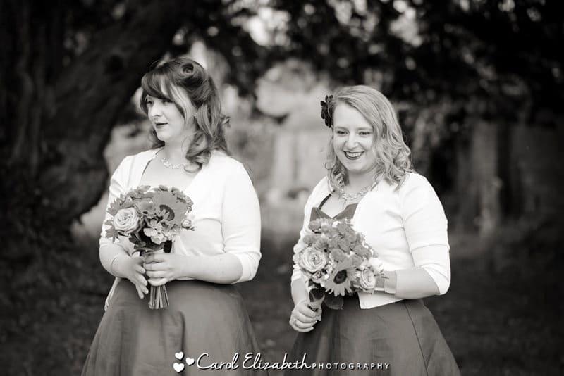 Black and white informal wedding photo