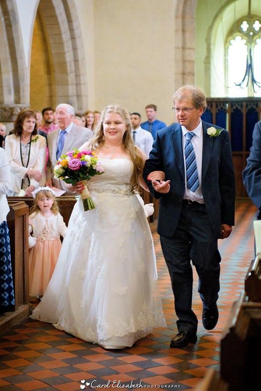 Church bride and dad