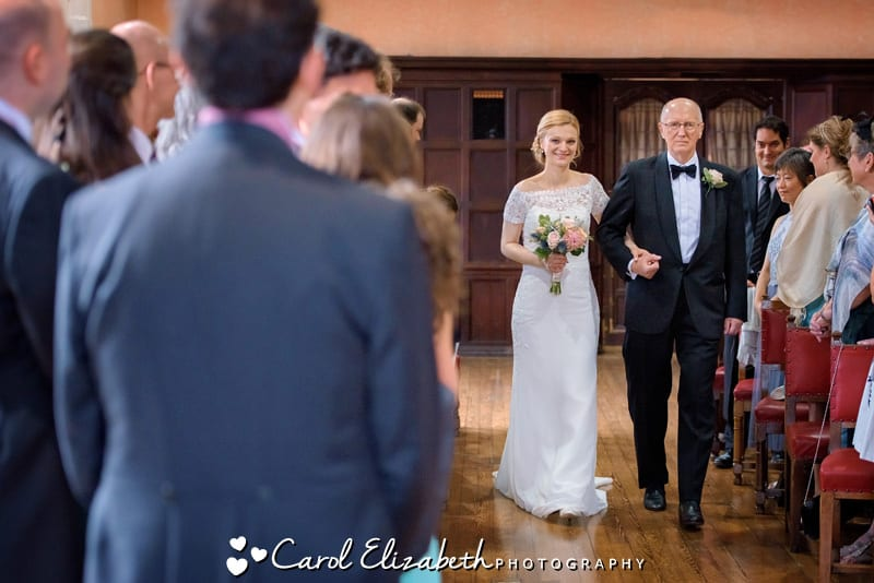 Bride sees groom at Oxford Town Hall wedding ceremony