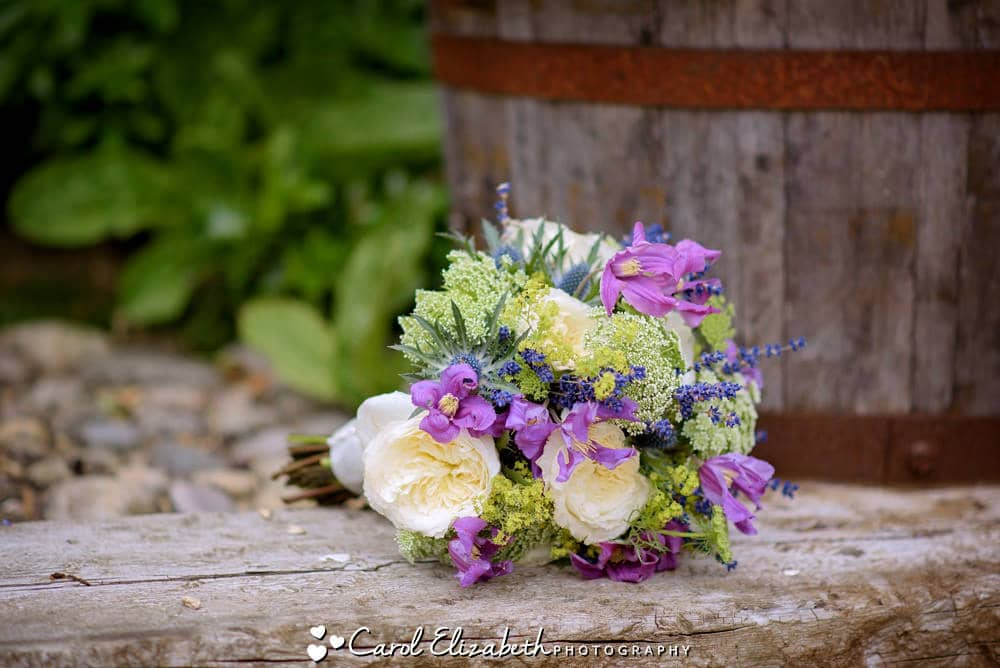 Purple and cream wedding flowers
