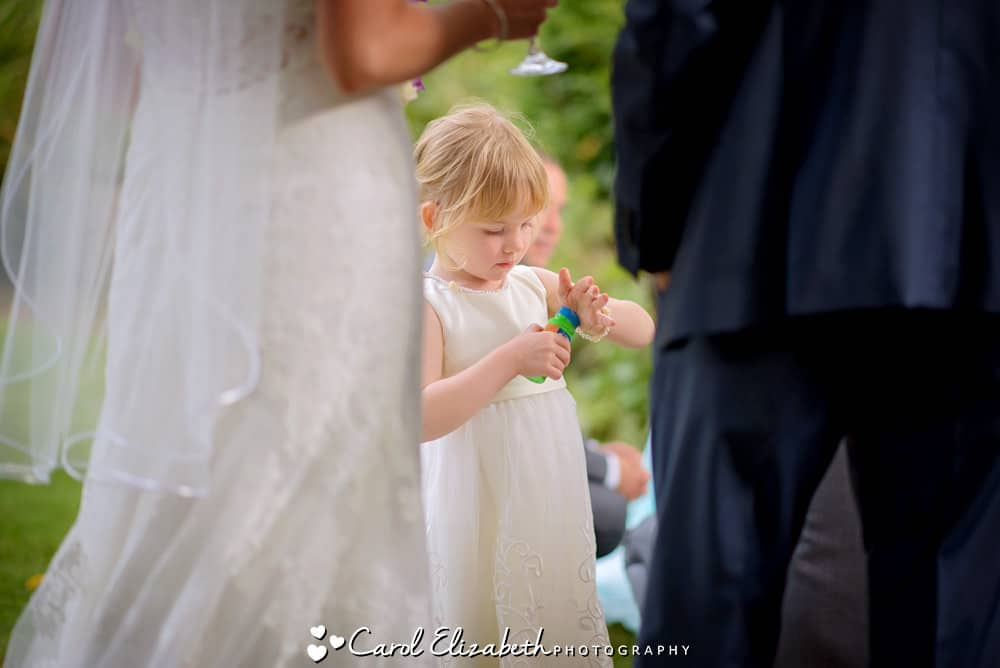 Bridesmaid with bubbles
