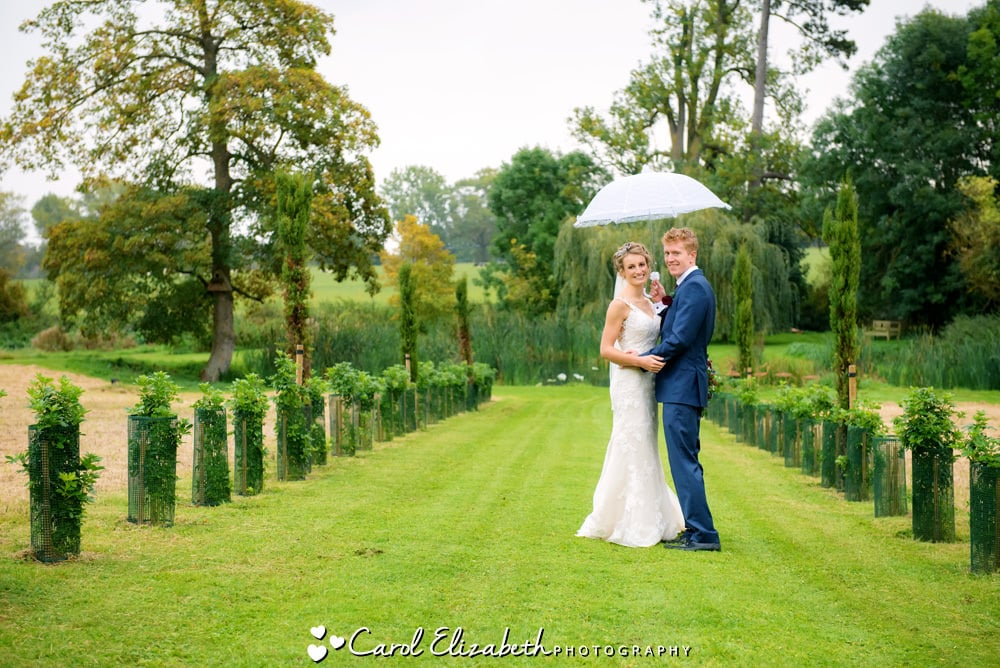 Bride and groom in the grounds