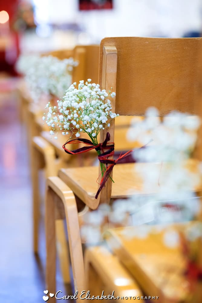Church pew flowers