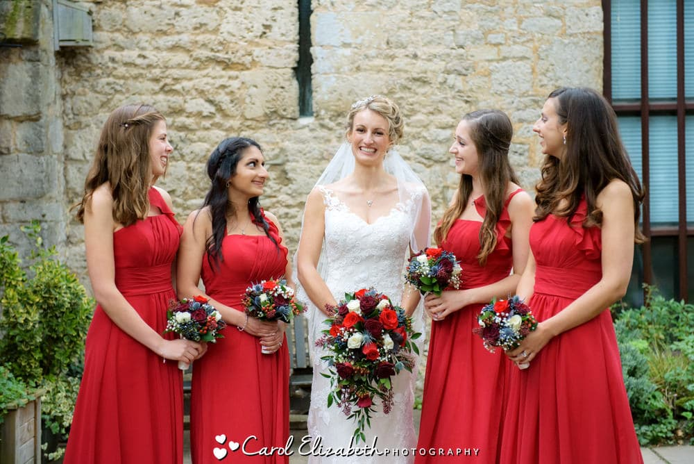 Bride and bridesmaids at Abingdon wedding