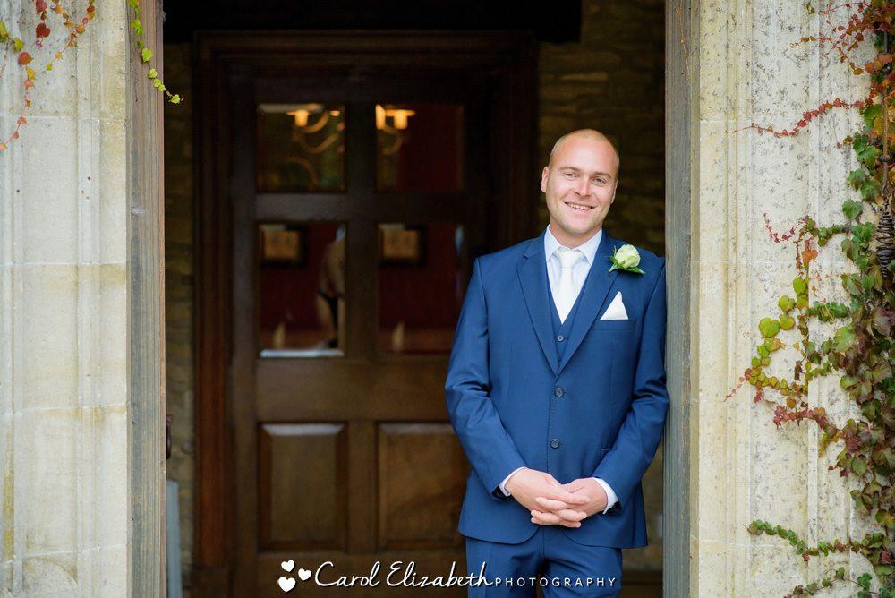 Groom at Hyde Barn wedding - Fosse Manor