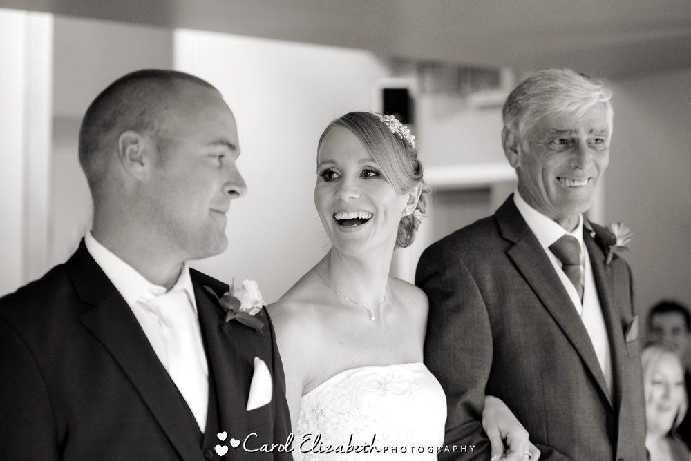 Indoor wedding ceremony at Hyde Barn