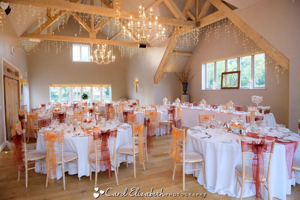 Hyde Barn wedding venue - wedding reception room