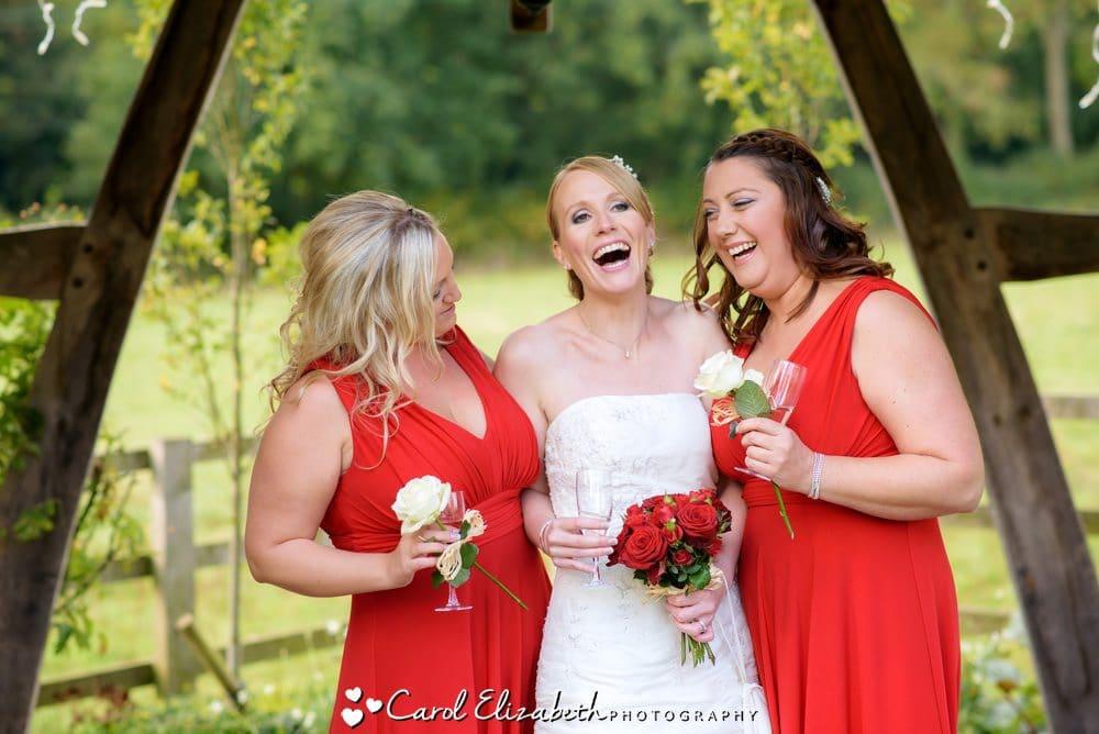 Bride and bridesmaids at summer wedding