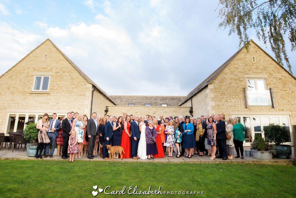 Group photo at Hyde Barn wedding