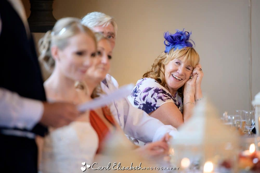 Brides mum watching speeches